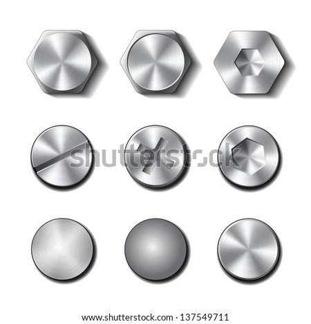 Set of screws and bolts on white background. - stock photo