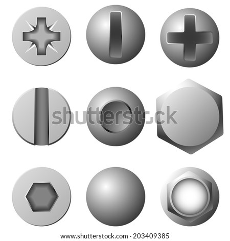 Set of screws, bolts and rivets isolated on white background. - stock photo