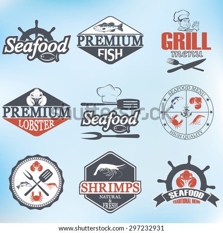 set of seafood labels and signs - stock photo