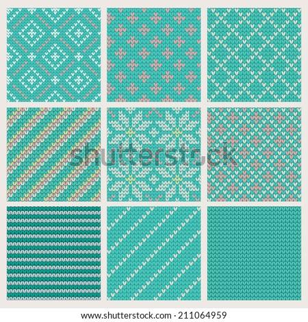 Set of  Seamless Knitting Patterns. illustration