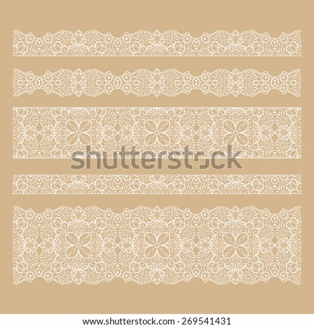 Set of seamless lace borders. Tileable lace ribbons, can be infinitely repeated to suit your design needs.  - stock photo