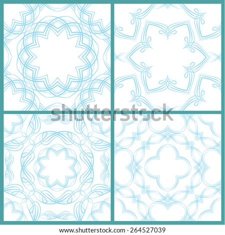 Set of seamless patterns - Guilloche ornamental Elements for Certificate, Money, Diploma, Voucher, decorative round frames. Vintage backgrounds. Raster version - stock photo