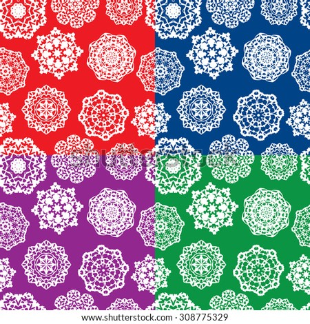 Set of seamless patterns with Decorative paper snowflakes. White on different colors backgrounds. Raster version - stock photo