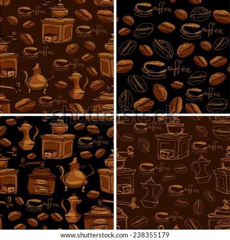 Set of 4 seamless patterns with handdrawn coffee cups, beans, grinder, coffee pot, calligraphic text COFFEE. Background design for cafe or restaurant menu. Raster version - stock photo