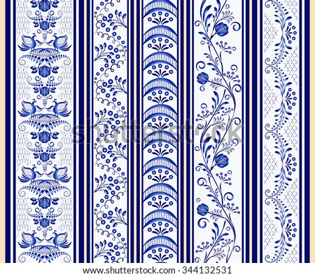 Set of seamless vertical borders in the ethnic style of painting on porcelain. Rasterized version. - stock photo