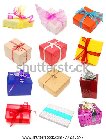 set of seasonal wrapping gifts - stock photo