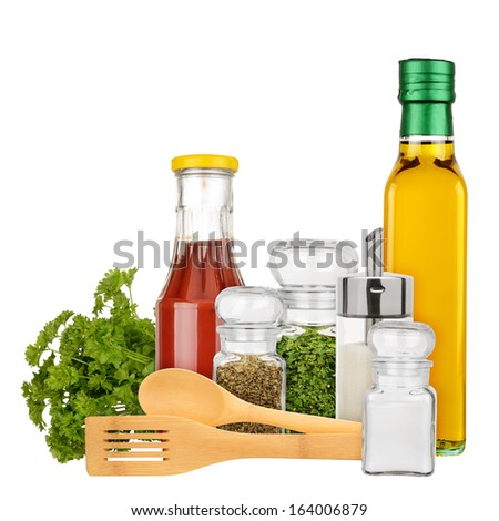 Set of seasoning and condiments isolated on a white background - stock photo