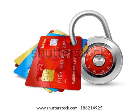 Set of secure credit cards with chips protected by encryption padlock isolated  illustration - stock photo
