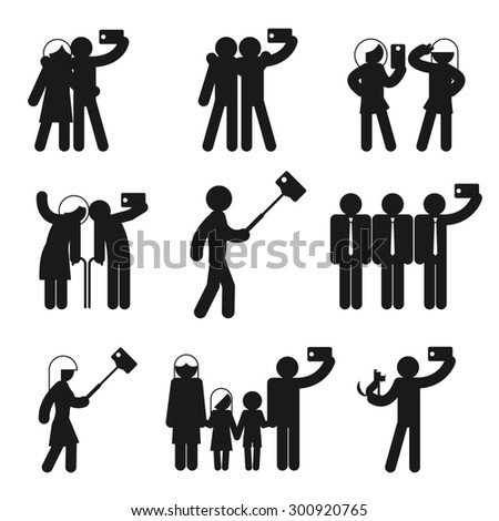 Set of selfie icons. Camera phone, people and mobile photography, family man and woman and child illustration