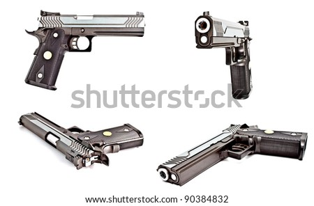 set of .45 semi automatic handgun isolated on white background, studio shot - stock photo