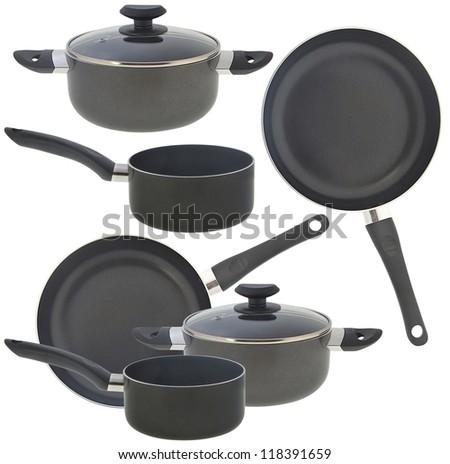 set of set of kitchen utensils, isolated on white - stock photo