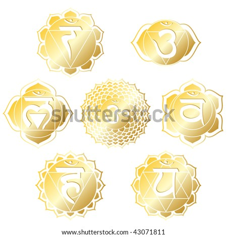 set of seven chakras in shiny gold - stock photo