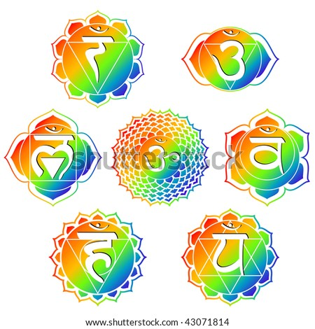 set of seven rainbow color chakras - stock photo