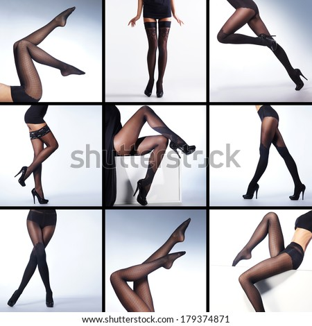 Set of sexy legs in hosiery over white background (many different frames) - stock photo