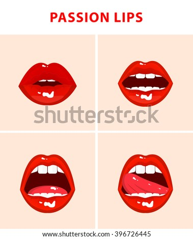 Set of 4 sexy open mouths, tongue hanging out, red erotic seductive lips, passion - stock photo
