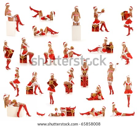 Set of sexy Santas isolated on white - stock photo