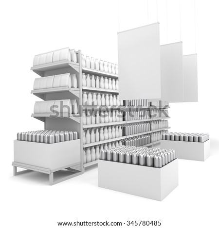 set of shelves in a store or a shop. 3D rendering - stock photo