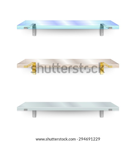 Set of shelves. Two different glass shelves and one opaque. Rasterized version. - stock photo