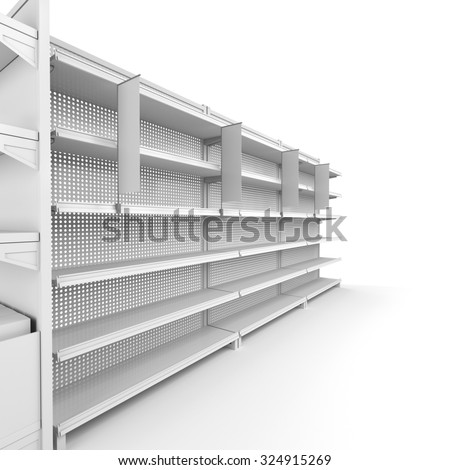 set of shelves with shelf-stopper in a store or a shop. 3D rendering