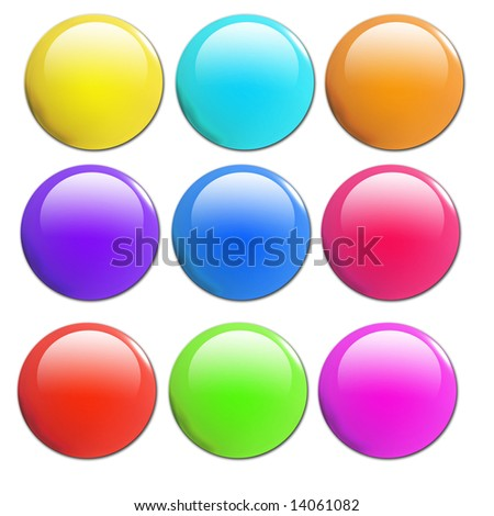 Set of 9 shiny buttons isolated on a solid white background