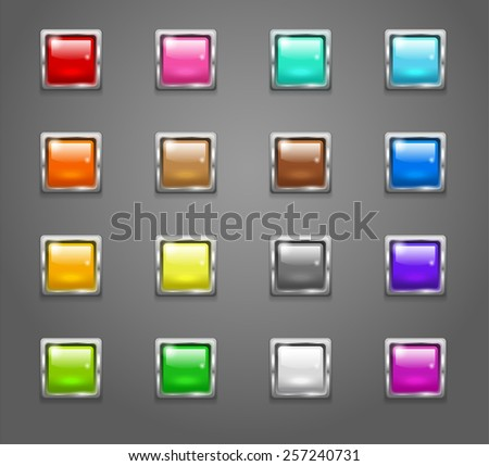 Set of shiny colored square buttons. Raster version - stock photo