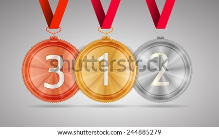 Set of shiny gold first place, silver second place and bronze third place circle medals with white number 1, 2 and 3 and with red ribbons. Isolated illustration on gray background.