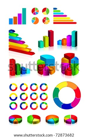 set of shiny graphics and diagrams on white background - stock photo