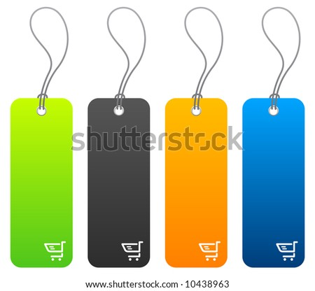 Set of 4 shopping price tags with tie strings