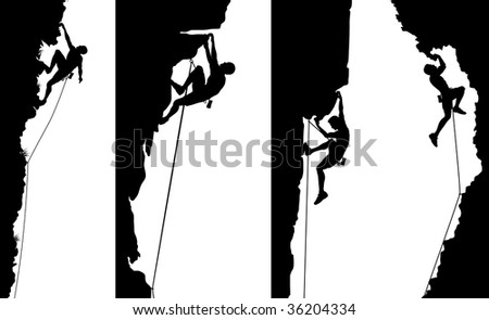 Set of side panel silhouettes of climbers - stock photo