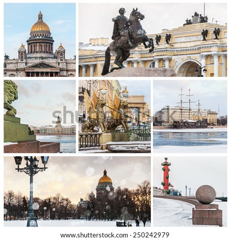set of sights of St. Petersburg in winter. Russia    - stock photo