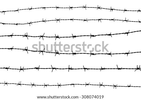 set of silhouette barbed wire on white background - stock photo
