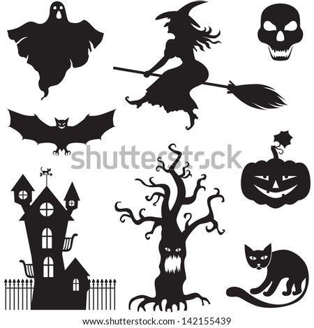 Set of silhouette horror images of a Halloween  - stock photo