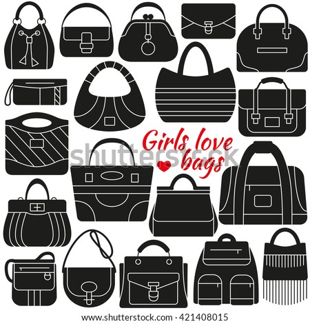 Set of silhouette icon. Different women bags. Simple design