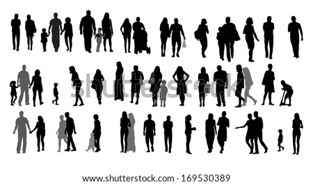 Set of Silhouette Walking People and Children.  Illustration.