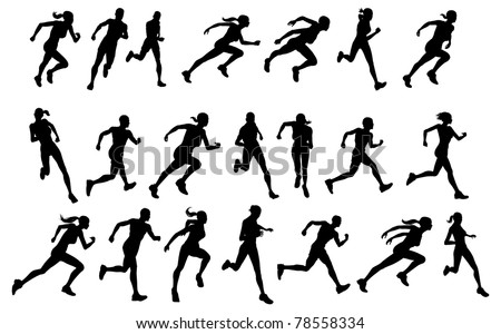 Set of silhouettes of athletic looking male and female runners running - stock photo