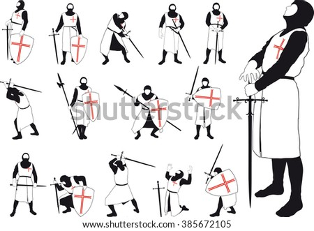 Set of silhouettes of Crusader with various weapons in different situations - stock photo