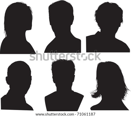 set of silhouettes of heads, highly detailed in black - stock photo