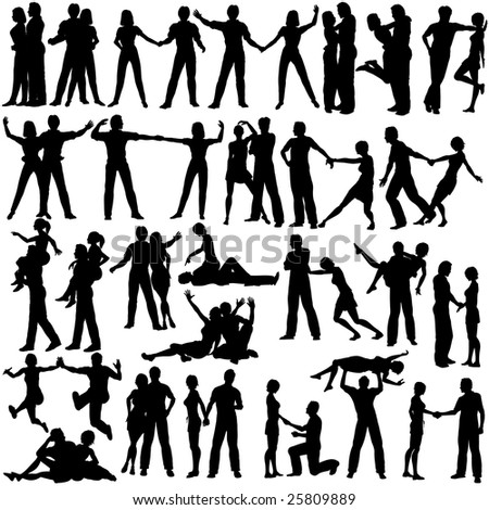 Set of silhouettes of man and woman couples. Vector file available.
