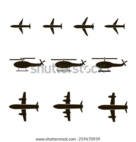 Set of silhouettes of planes and helicopters - stock photo