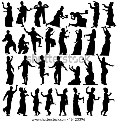 Set of silhouettes of traditional Thai dancers