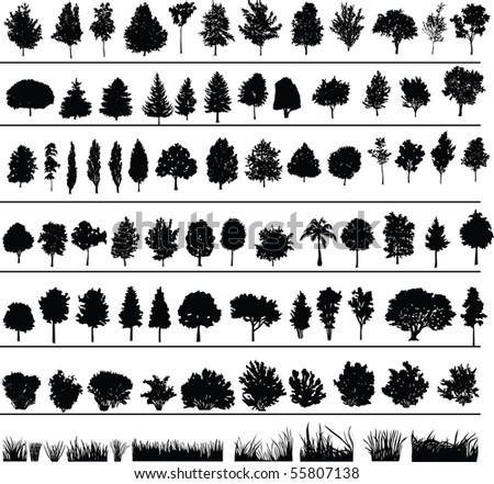 Set of silhouettes of trees, bushes and grass - stock photo