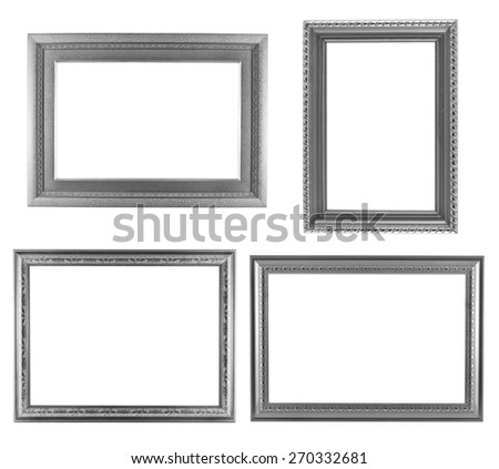 Set of silver frame vintage isolated on white background.