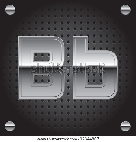 Set of silver metal font on metallic perforated background - letter B - raster version
