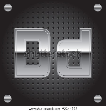 Set of silver metal font on metallic perforated background - letter D - raster version