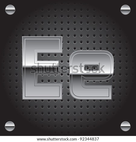 Set of silver metal font on metallic perforated background - letter E - raster version