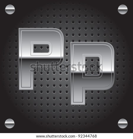 Set of silver metal font on metallic perforated background - letter P - raster version