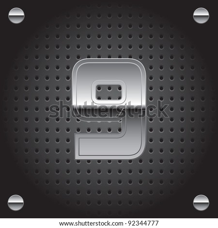 Set of silver metal font on metallic perforated background - number nine - 9 - raster version