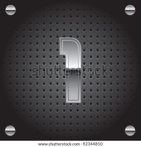 Set of silver metal font on metallic perforated background - number one - 1 - raster version - stock photo