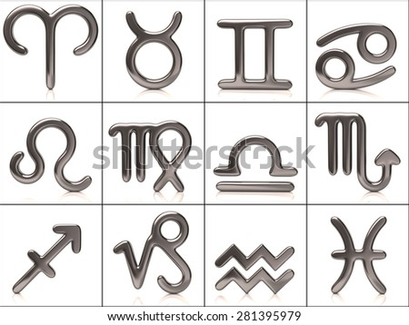 Set of silver zodiac signs - stock photo