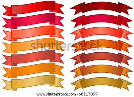 Set of simple Banners - basic banners in red, orange and gold gradients - stock photo
